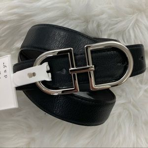 A New Day Black & Silver Tone Plaque Buckle Belt